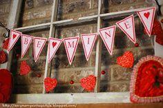 Very Merry Vintage Syle-Valentine pennant banner