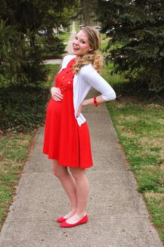 Spring maternity red dress via Laughing Latte
