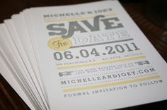 gray and yellow save the dates