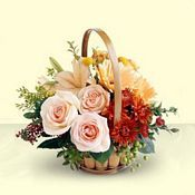 Mixed Flowers Basket  This wonderful arrangement of mixed flowers in a basket is a gift that will lighten her day and will remain as a beautiful memory, foreve.