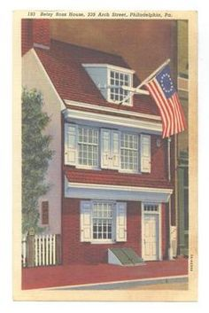 Old vintage postcard of Betsy Ross house, Philadelphia, PA, where first US flag was made