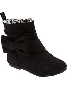 Sueded Bow-Tie Boots for Baby PNH