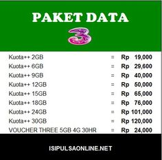 Paket data Tri Inject Isipulsaonline.net