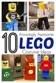 10 amazing and awesome DIY Lego costume ideas for kids. LOVE THESE for Halloween! Lego Halloween Costumes, Boy Costumes, Halloween Activities, Halloween Kostüm, Halloween Cupcakes, Holidays Halloween, Costume Ideas, Halloween Face Mask, Halloween Projects
