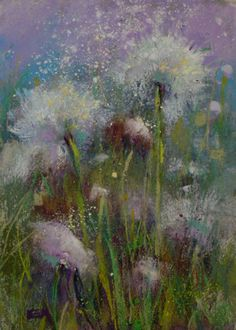 watercolor and pastel painting | Dandelion Pastel Painting 5×7