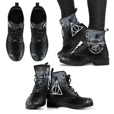 Hogwarts Boots (Premium Leather) Features eco-friendly leather with a double-sided print and rounded toe construction. Lace-up closure for a snug fit. Black Leather Boots, Suede Boots, Men's Boots, Vegan Leather, Leather Men, Adidas, Quilted Leather, Combat Boots, Just For You