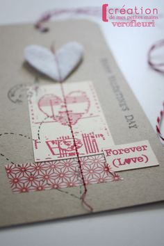 Valentines #gift #wrapping #packaging #tag #kraft #red #washi #tape #felt #heart