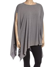This Heather Gray Asymmetric-Hem Tunic - Plus by La Ropas is perfect! #zulilyfinds