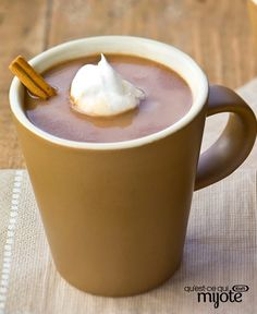 This hot chocolate is anything but ordinary. Made with milk, BAKER'S Chocolate and a touch of cinnamon, this homemade hot chocolate is spiced just right! Spiced Hot Chocolate Recipe, Homemade Hot Chocolate, Cool Whip, Eggnog Latte Recipe, Mexican Food Recipes, Sweet Recipes, Bakers Chocolate, Healthy Living Recipes, Cooking Recipes
