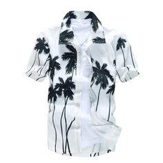Brand new camisas Beach Shirt Men Hawaii shirt beach leisure fashion floral shirt tropical seaside hawaiian shirt Asian Size Hawaiian Men, Hawaiian Shorts, Mens Hawaiian Shirts, Hawaiian Print, Short Shirts, Casual T Shirts, Men Casual, Clothes 2018, Free Clothes