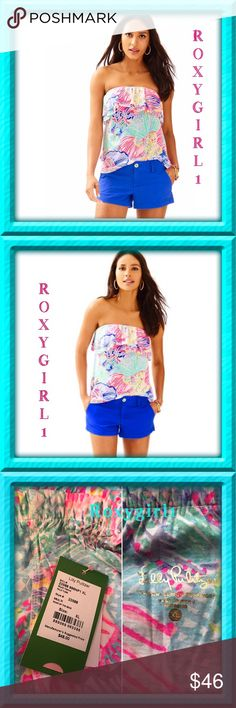 LILLY PULITZER RILO TUBE TOP ~ ROAR OF THE SEAS LILLY PULITZER RILO TUBE TOP Roar of the Seas This Print Sold Out & is No Longer Available! Size XL New with Tags Attached  Removed from Package for photos   DESCRIPTION The Rilo Tube top is a resort staple. This simple printed strapless top is ideal for you if you hate tan lines and love the sun. Wear this double flounce top with printed shorts or ?  Double Flounce Tube Top. Cotton/Modal Jersey - Printed (50% Pima Cotton, 50% Modal). Machine…
