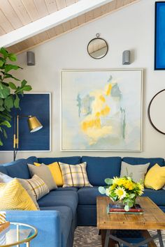 Family Room | Living Room | Decorating with Blue & Yellow | Wall Art | Throw Pillows | Blue Sofa