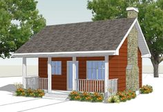 HousePlans.com 18-4522. This is a 300 sq ft one level house with kitchen, bath and open great room. Perfect for using a Murphy bed and wardrobes for creating the bedroom function.