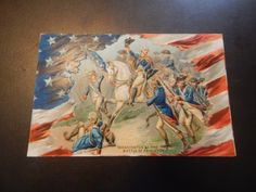 Antique embossed george washington civil war / horse postcard flag TUCK's postcard posted 1911 by postcardvault on Etsy