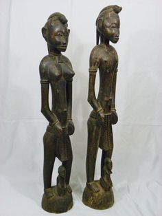 A Fine, African Art, Senufo Rhythm Pounder Couple, Deble ,Antique,Collectible