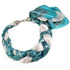 Šátek-náhrdelník Florina 299flo009-32.01a - tyrkysovobílý - Bijoux Me! 💍 Originální česká bižuterie a šperky. Eshop i kamenná prodejna v Praze ✓