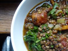 lentils with kale and bacon