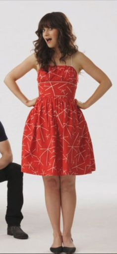 Zooey Deschanel's Red and White Dress from the New Girl Pilot.  Outfit Details: http://wwzdw.com/z/425/ #WWZDW