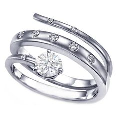 Intertwined Bezel Set Snaked Swirl Diamond Engagement Ring 0.18 tcw.
