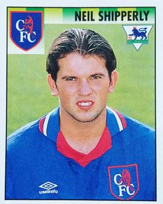 A disgusted looking Neil Shipperly. One of the best Chelsea stickers in the Merlin 1994 / 95 sticker album. Read the article on blog.footballshirtcollective.com #football #footballshirt #footballshirtcollective #soccer #soccershirt #chelsea #chelseafc #cfc #umbro #umbrofootball #vintagefootball #premierleague