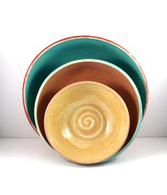 Nesting Bowls  Set of three serving bowls in by BlueSkyPotteryCO, $75.00