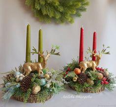 Купить Новогодняя композиция на спиле дерева со свечами Лесной олень в интернет магазине на Ярмарке Мастеров