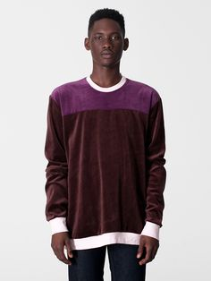 Velour Color Block Long Sleeve Raglan | Pullovers | Men's Sweaters | American Apparel