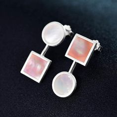 Sterling Silver & Natural Shell 'The Art Of Square And Circle' Earrings Handmade Sterling Silver, Sterling Silver Earrings, Circle Earrings, Shells, Cufflinks, Nature, Stuff To Buy, Seashells, Gold Plating