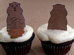 Groundhog cupcake toppers