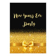 New Years Eve party invite card black gold bow - invitations custom unique diy personalize occasions