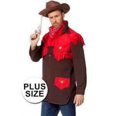 Bruin cowboy verkleed shirt met rode details in grote maten. Het shirt is mooi afgewerkt met franjes en goudkleurige sterren. Materiaal: 100% polyester.