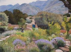 I don't often do paintings of foreign scenes, but these nice people in Albaquerque, New Mexico wanted a view of their garden and the mountains beyond. It was quite a challenge, but they are very happy with it.  SOLD