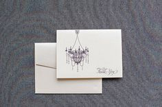 Wedding Thank You Cards  Chandelier    Victoria and by LamaWorks