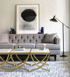 grey couch, brass and marble coffee table wood maybe. style ideas for la barge vintage brass and glass table