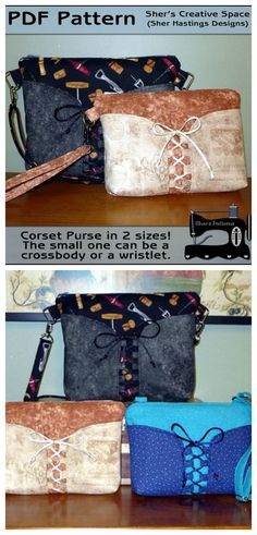 Here's the PDF Pattern to make this purse in two different sizes. The smaller purse can be made into a clutch, wristlet, or crossbody bag. The larger would be appropriate for a crossbody bag or a shoulder bag. The strap is adjustable, but of course that is optional if you prefer to have it at a permanent desired length (instructions included).