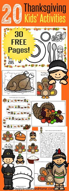 "This FREE 30 Page Thanksgiving Activities for Kids Printable Pack includes over 20 Activities (30 Pages) A great idea to DIY your own crafts! 4 Puzzle Pages, 8 Coloring Pages, 4 Hats, 1 Turkey themed Board Game with matching Dice, 2 Mazes, 24 Flashcards for a Matching, ""Go Fish"" or memory game, name tags for place settings, and kids' activity Thanksgiving placemat. Ad #CoffeeCreamerCombos"