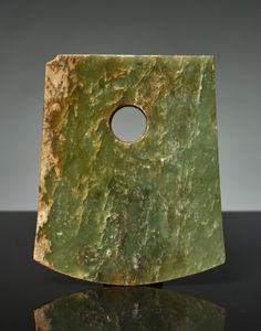 YUE AXE  Jade China late Neolithic Era, Liangzhu Culture, approx. 3300 to 2200 BC HEIGHT 15,5 CM, BLADE WIDTH 12,8 CM, THICKNESS TO 8 MM