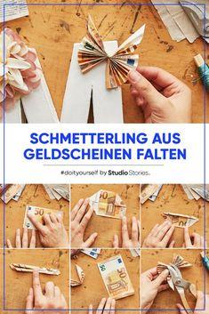 Origami butterfly as a monetary gift.-Origami-Schmetterling als Geldgeschenk. Origami Diy, Origami Tutorial, Origami Paper, Money Origami, Origami Butterfly, Origami Flowers, Cute Gifts, Diy Gifts, Don D'argent