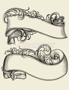 Engraved Scrollwork Banners Royalty Free Stock Vector Art Illustration: