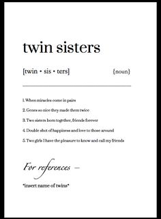 Twin sister - definition gift