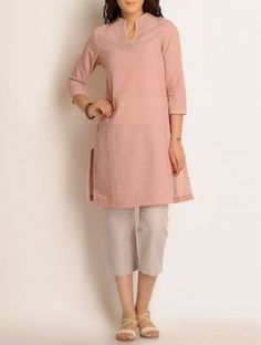 Dusty Pink Embroidered Khadi Kurta Short Kurti Designs, Simple Kurta Designs, Kurta Designs Women, Blouse Designs, Simple Pakistani Dresses, Pakistani Fashion Casual, Simple Dresses, Indian Fashion, Khadi Kurta