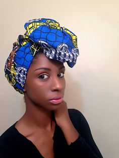 Check out this item in my Etsy shop https://www.etsy.com/listing/261014673/blue-yellow-african-headwrap-ankara