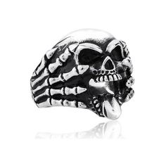 Death Claws Skull Titanium Ring For Men ($179) ❤ liked on Polyvore featuring mens, men's jewelry, men's rings and rings
