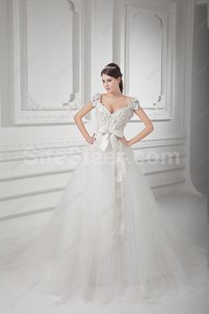 Satin and Net V Neckline A line Sweep Train Embroidered Wedding Dress