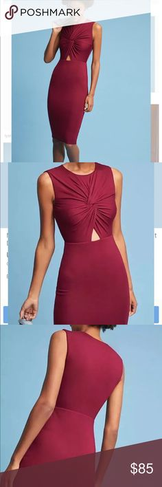 Anthropologie Bailey 44 dress cutout keyhole wine Wine Cutout Keyhole Above the knee Jersey Sexy Feminine NWT small Make it yours Bailey 44 Dresses Midi