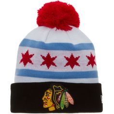 Chicago Blackhawks Chicago Flag Crown Knit Pom Cap by New Era #Chicago #ChicagoBlackhawks #Blackhawks