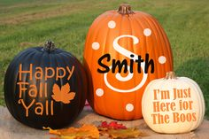 Easy no carve pumpkin decorating idea! Your pumpkins will be positively festive this season with our Personalized Pumpkin Vinyl Decal Kits! Choose from several Halloween themed decals-including some personalized designs. Some designs can even be stacked to create the look of your dreams. How cute would this be for fall family photos or a fall themed pregnancy announcement?!