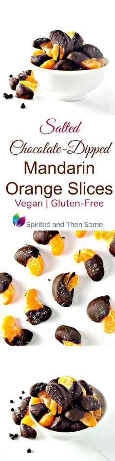 Salted Chocolate-Dipped Mandarin Orange Slices are vegan, gluten-free, no-bake, and ready in minutes! | spiritedandthensome.com