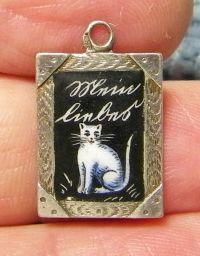 Antique German enamel silver Cat Charm - dated 1904 Vintage Charm Bracelet, Charm Bracelets, Antique Jewelry, Vintage Jewelry, Silver Cat, 925 Silver, Cat Jewelry, Silver Jewelry, Silver Charms