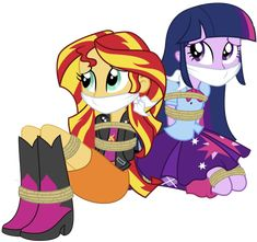 How could this happen to this two most important who was the one behind it? Sunset and twilight tide up Kidnapped Girl, Cartoon Icons, Equestria Girls, Princesas Disney, Disney Frozen, Art Girl, My Little Pony, Twilight, Sonic The Hedgehog